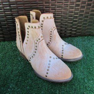 Very Volatile white distressed western ankle boots